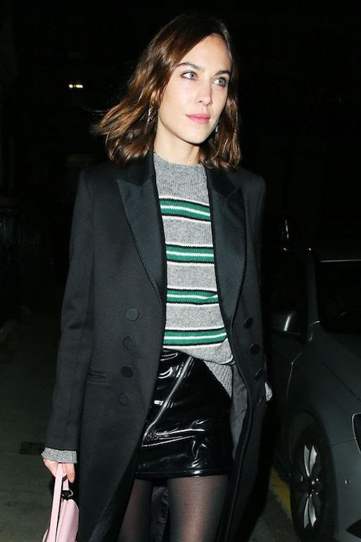 Alexa Chung Style Prada Striped Sweater Black Blazer Patent Leather Mini Skirt Fall Outfit Inspiration Le Fashion Blog