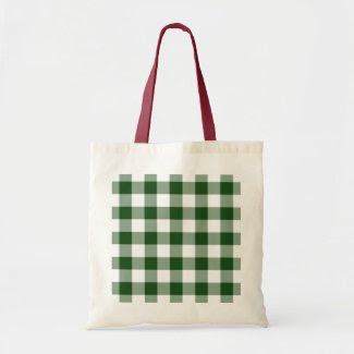 Green and White Gingham Pattern bag