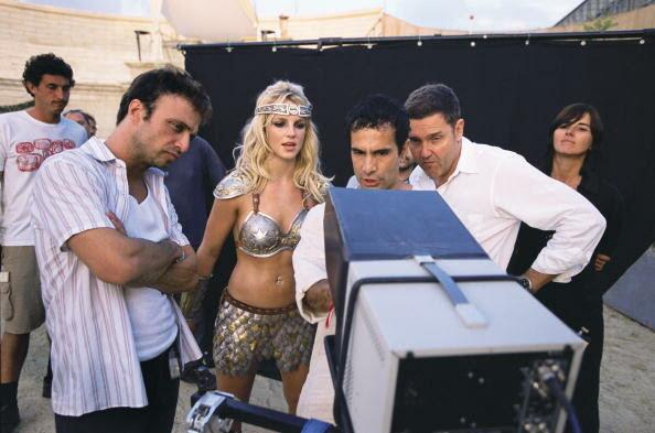 Britney Spears views footage during filming