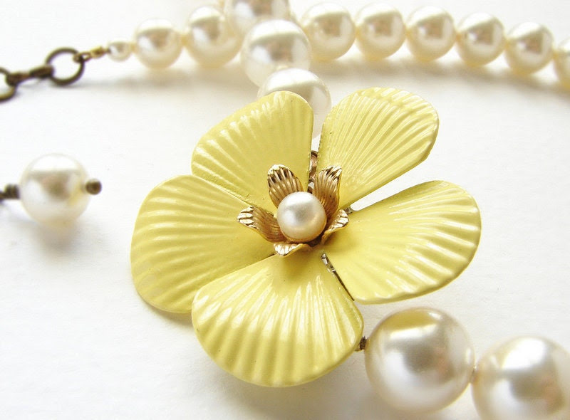 Vintage Buttercup Pearl Necklace - vintage lemon yellow flower brooch necklace, bridal pearl bridesmaid statement necklace