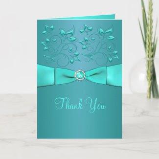 Teal and Aqua Floral II Thank You Card card