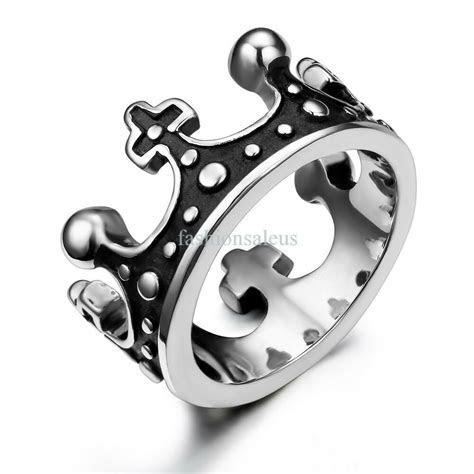 New Silver&Black Vintage Crown Stainless Steel Ring Mens