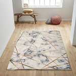 Mosaic Floral Unique Faux Chinchilla Feel Print Area Rug Animal Cruelty Free 5' x 7' / ANGL297