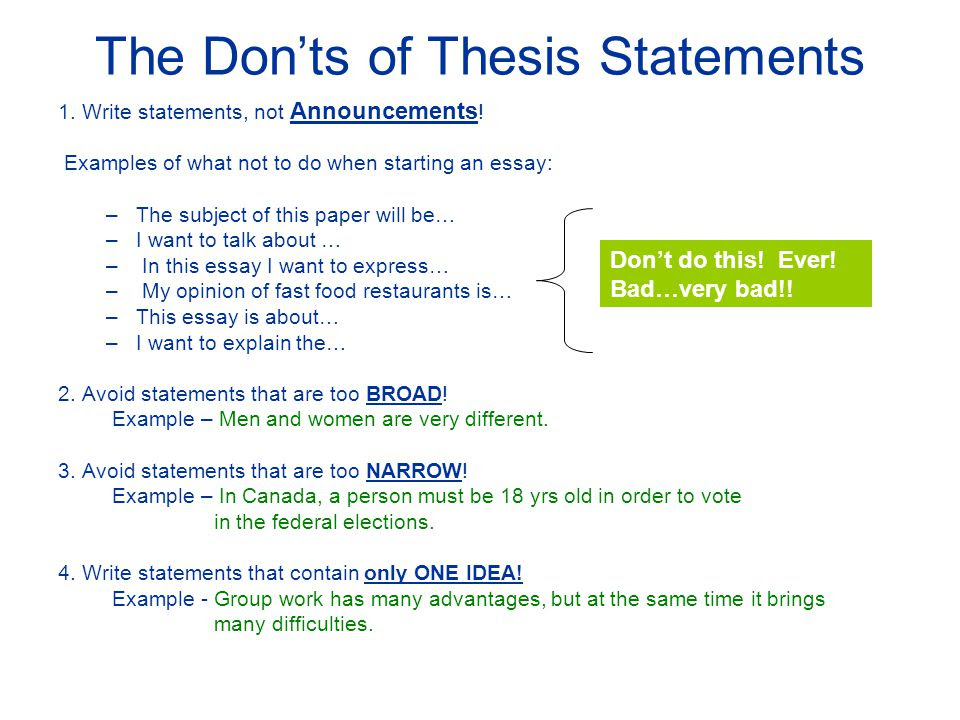 how to write a good thesis statement teacher tube