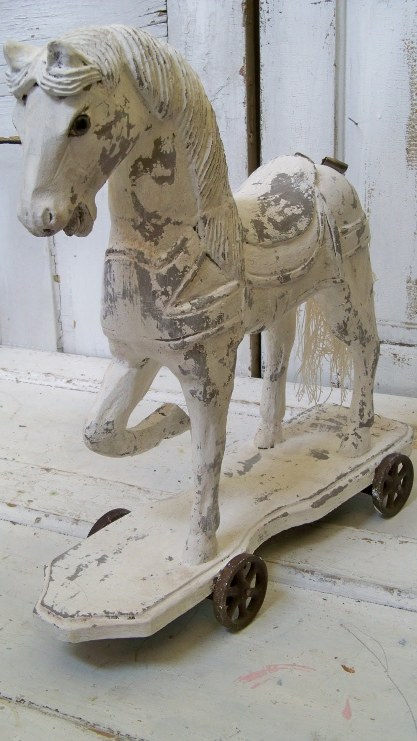 Large wood horse hand painted gray white rusty wheels French Nordic inspired wooden sculpture Anita Spero