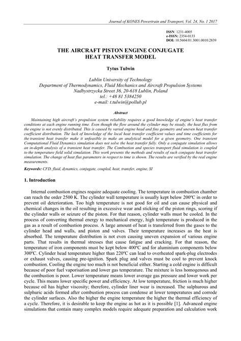 (PDF) THE AIRCRAFT PISTON ENGINE CONJUGATE HEAT TRANSFER MODEL