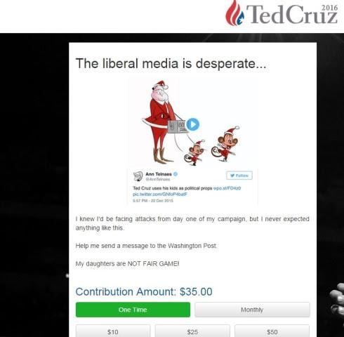 Image: Ted Cruz fundraising appeal over Washington Post animation