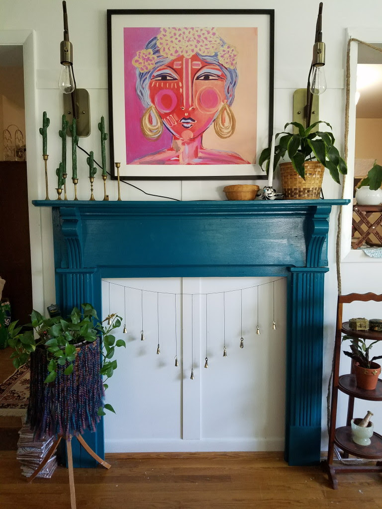 Colorful bohemian gypsy eclectic fireplace in dining room