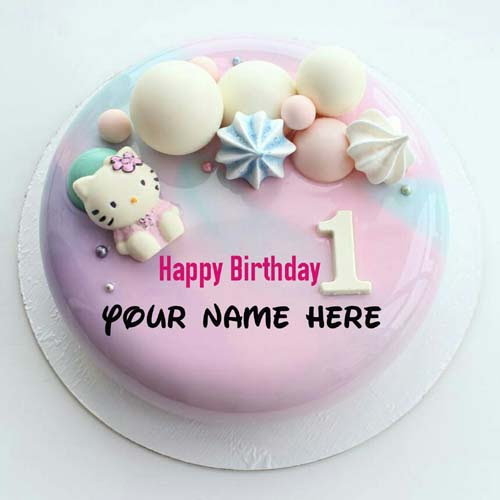 1st Birthday Cake With Name And Photo Editor Online