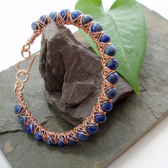 Kiss Kross Bracelet  Lapis Lazuli and copper by Abbyjewellery, $41.25