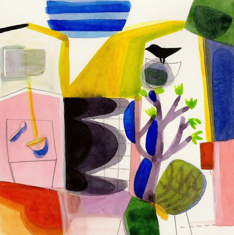 Fine Art Print of Mixed Media  Original Watercolor Acrylic  Pencil Bird Home Garden Wall Art