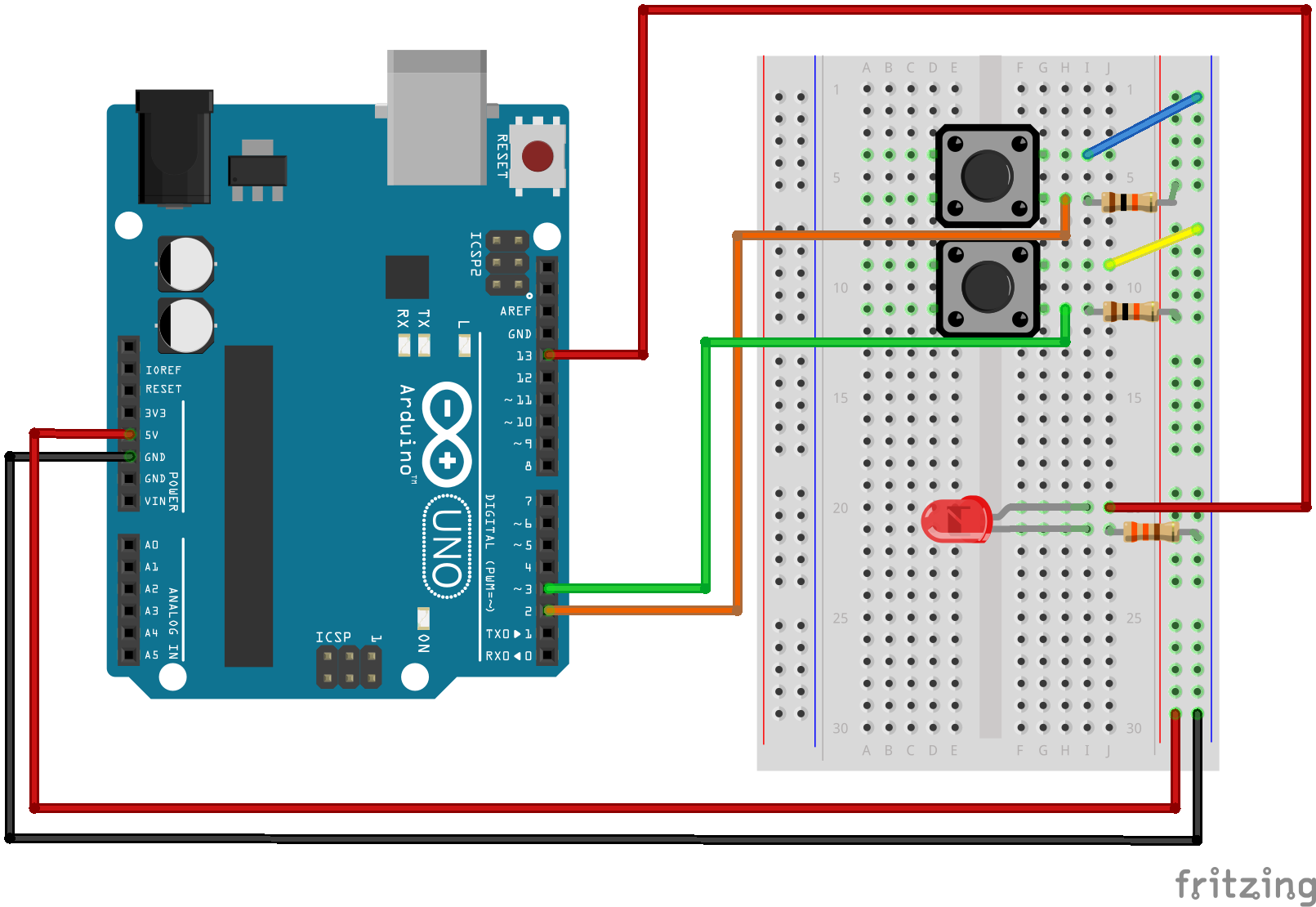 [RESOLVED] 2 buttons control for LED