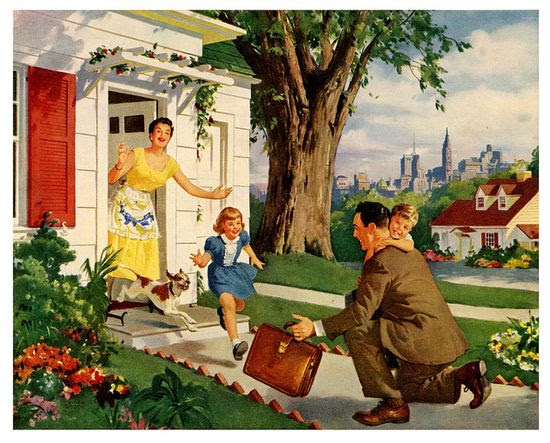 A scene of mid-century domestic bliss if ever there was. #vintage #1950s #family #homemaker