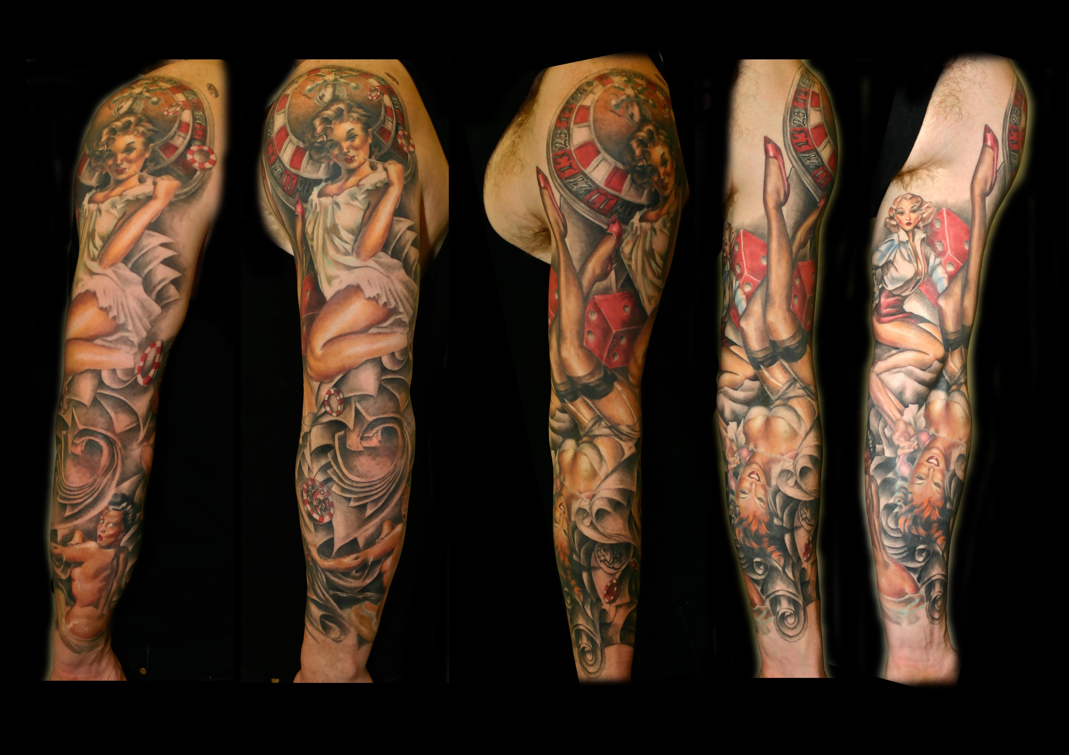 Traditional Pin Up Girl Tattoo Sleeve 35687 Timehd