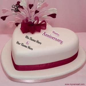 Create happy marriage anniversary heart shape cake picture
