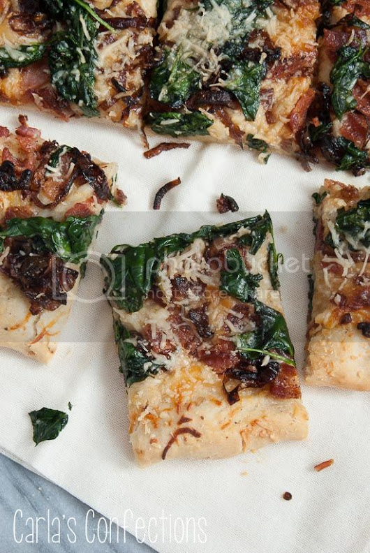 Carla's Confections: Caramelized Onion, Spinach and Bacon Pizza