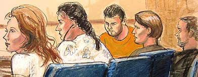 Courtroom  sketch shows defendants in Manhattan federal court in New York, Monday,  June 28, 2010. (AP)
