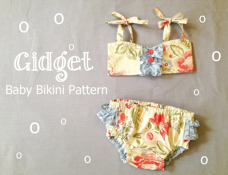 NEW Gidget Retro Baby Bikini Swimsuit PDF Pattern Tutorial Bathing Suit for Infant, Baby, Toddler