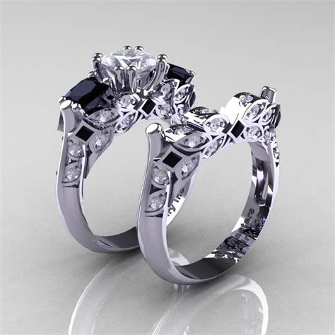 Classic 14K White Gold Three Stone Princess CZ Black and