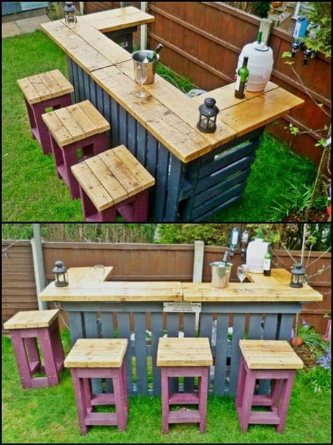 diy outdoor pallet bars     weekend