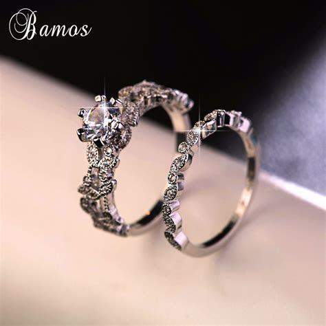 90% OFF ! Bamos Female White Round Ring Set Luxury 925