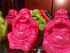 neon plastic buddhas