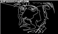 White Line Contour Drawing of a Face