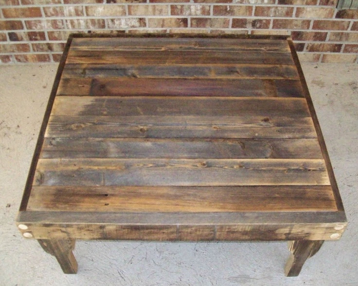 Natural Finish Square Reclaimed Wood Coffee Table with Removable Legs