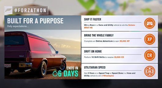"FH3 #Forzathon February 16-22nd: ""Built For a Purpose"""