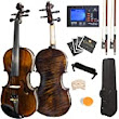 Monna Lissa wishing for Mendini 1/2 MV500 Flamed 1-Piece Back Solid Wood Violin with Case, Tuner, Shoulder Rest, Bow, Rosin, Bridge and Strings - Chip'n Ship