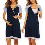 Dark Blue Maternity Short-Sleeve Nursing Dress