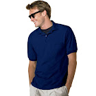 Hanes Men's Cotton-Blend EcoSmart Jersey Polo with Pocket Navy