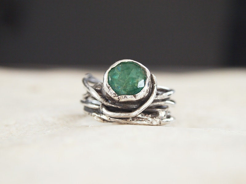 """Artisan Sterling Silver & Genuine Emerald Ring - Abstract  - Unique - One of a Kind - """" Branches and Bushes """" Collection - serpilguneysu"""