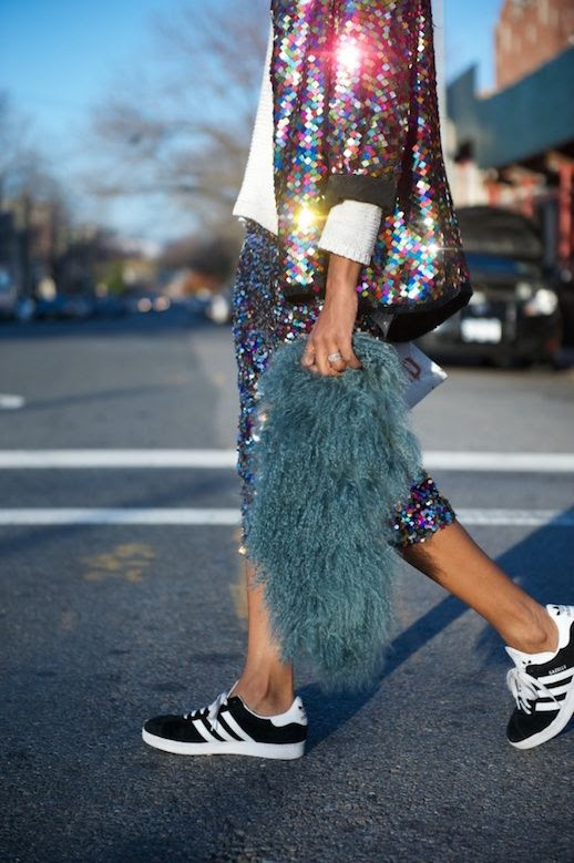 Le Fashion Blog 25 Ways To Wear Adidas Sneakers Sequin Jacket Skirt Shaggy Gazelle Black Street Style Via Where Did U Get That