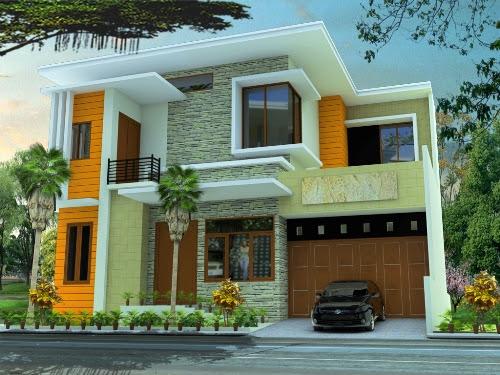 Cat rumah minimalis modern dengan sentuhan warna kuning (Indodesain)