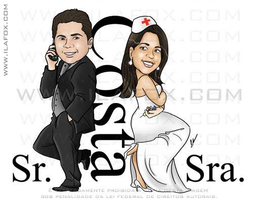Caricatura Sr e Sra Smith, casal, Costa, noivos, colorido, corpo inteiro, noivinhos Karlene e Leandro, caricatura para casamento, by ila fox
