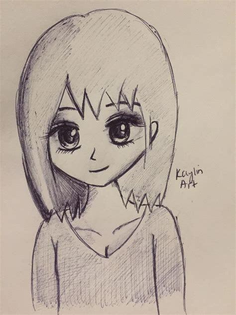 pretty anime girl drawing original art  kaylin