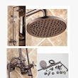 Antique Oil-rubbed Bronze Waterfall Rainfall + Handheld Wall Mount Shower Tap - TFB001 [TFB001] - £249.99 :