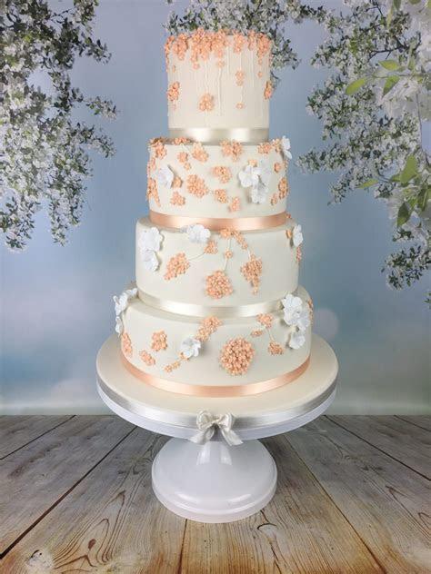 Peach blossom wedding cake   Mel's Amazing Cakes