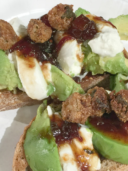 Avocado-Burrata Toast with Savory Tomato-Basil Jam