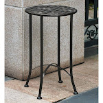 International Caravan Mandalay Iron Patio Side Table, Antique Black