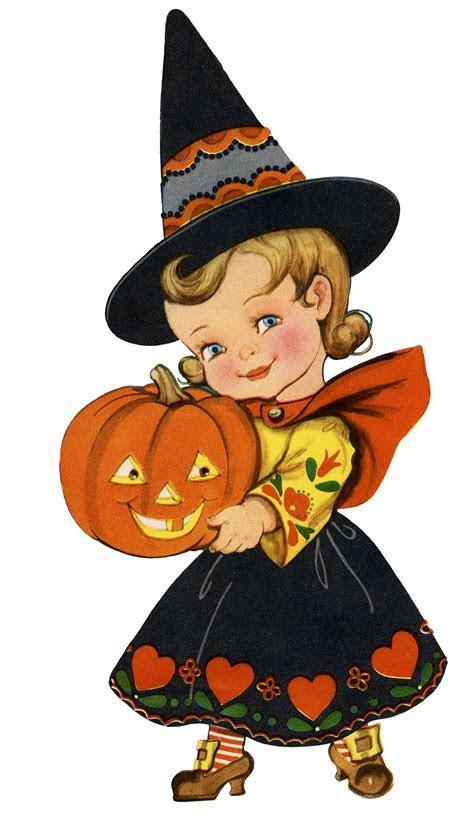Adorable Retro Halloween Girl Image!   The Graphics Fairy