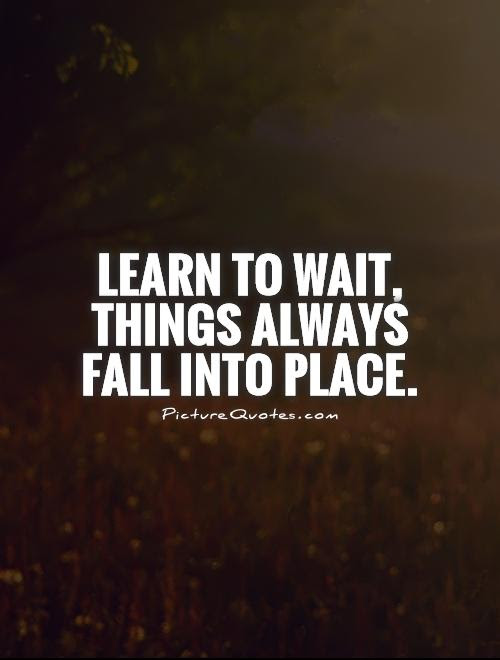 Learn To Wait Things Always Fall Into Place Picture Quotes