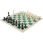 Standard Club Plastic Chess Set Black & Ivory Pieces with Green Roll-up Chess Board