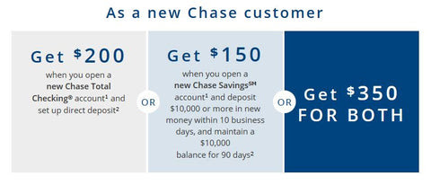 Chase $150 Savings + $200 Checking or $300 Premier Checking Bonus. No Chase Login Needed To Get Coupon.