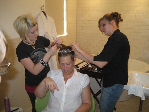 Kristin getting hair done