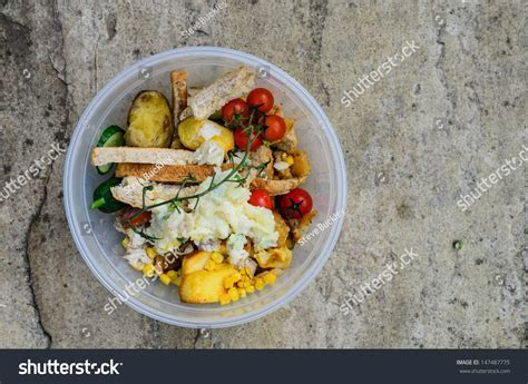 A Bowl Of Food Recycling Waste On A Stone Background Stock