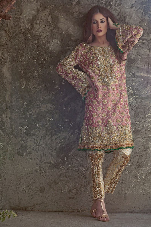 Adorned and embellished light pink Pakistani engagement dress by Annus Abrar - Online Shopping in Pakistan