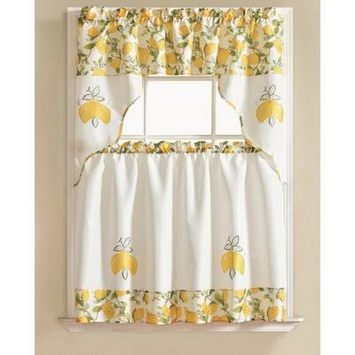 Gironde Lemon 3 Piece Kitchen Curtain Set August Grove