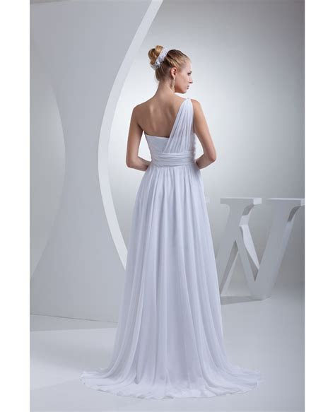 Grecian One Shoulder Beach Wedding Dress Long Chiffon #